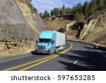 semi truck driving on mountain... | Shutterstock . vector #597653285