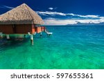 overwater bungalows with best... | Shutterstock . vector #597655361