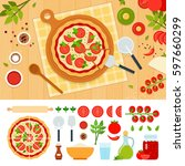 pizza margarita and ingredients ... | Shutterstock . vector #597660299