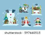 winter holidays snowman... | Shutterstock .eps vector #597660515