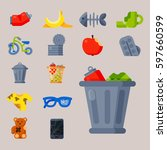 household waste garbage icons... | Shutterstock .eps vector #597660599