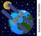 space satellites in earth orbit....   Shutterstock . vector #597663404