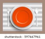 plate  spoon and fork isolated...   Shutterstock .eps vector #597667961