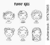 funny kids. vector cute boys... | Shutterstock .eps vector #597670835