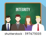 integrity white text on green... | Shutterstock .eps vector #597675035