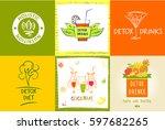 set of vector logo detox water... | Shutterstock .eps vector #597682265