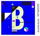 vector letter b memphis style...   Shutterstock .eps vector #597685595