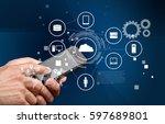 mobile phone. | Shutterstock . vector #597689801