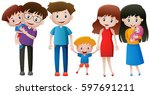 family members with parents and ... | Shutterstock .eps vector #597691211