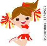 cheerleader girl jumping | Shutterstock .eps vector #59769373