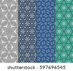 seamless patterns set. vintage... | Shutterstock .eps vector #597696545