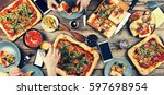 domestic food and homemade...   Shutterstock . vector #597698954