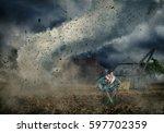 careless man reading a book... | Shutterstock . vector #597702359