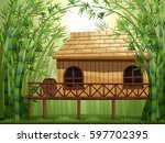 Wooden Cabin In Bamboo Forest...