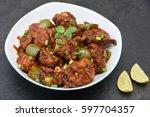 chicken manchurian   sweet... | Shutterstock . vector #597704357