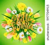 hello summer poster  hand drawn ... | Shutterstock .eps vector #597704915