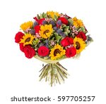 bouquet of flowers top view on... | Shutterstock . vector #597705257