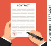 businessman hand holding pen... | Shutterstock .eps vector #597713264