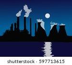 sunset or sunrise over the city.... | Shutterstock .eps vector #597713615