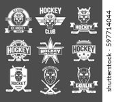 hockey logo set | Shutterstock . vector #597714044