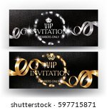 vip banners with defocused... | Shutterstock .eps vector #597715871