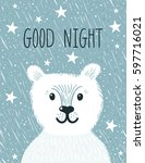 vector night poster with cute... | Shutterstock .eps vector #597716021