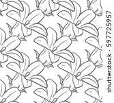 monochrome floral seamless... | Shutterstock .eps vector #597725957