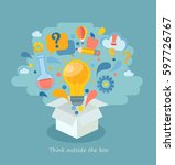 think outside the box  vector... | Shutterstock .eps vector #597726767