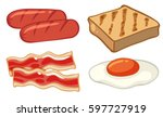 breakfast set with sausages and ... | Shutterstock .eps vector #597727919