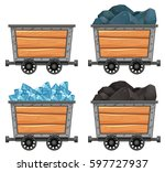 mining carts loaded with stones ...   Shutterstock .eps vector #597727937
