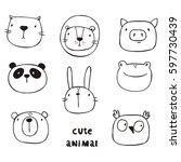 cute print with cat  lion  bear ... | Shutterstock .eps vector #597730439