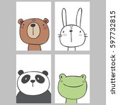 cute print with bear  frog ... | Shutterstock .eps vector #597732815