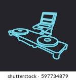 neon dj console vector... | Shutterstock .eps vector #597734879