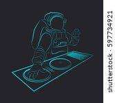 contuor neon astronaut vector... | Shutterstock .eps vector #597734921