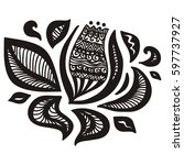 beautiful floral decorative... | Shutterstock .eps vector #597737927