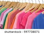 set of colorful shirt clothing... | Shutterstock . vector #597738071