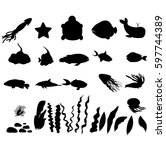 silhouettes of sea fish  whale  ... | Shutterstock .eps vector #597744389