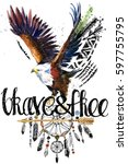eagle. american indian chief... | Shutterstock . vector #597755795