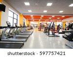 interior of treadmills in a... | Shutterstock . vector #597757421