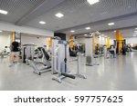 interior of a fitness hall | Shutterstock . vector #597757625