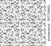 hand drawn ocean seamless...   Shutterstock .eps vector #597759851