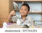 children's watercolor painting... | Shutterstock . vector #597761291