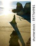 Bandon  Oregon Beach With...