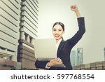portrait of a young smiling... | Shutterstock . vector #597768554