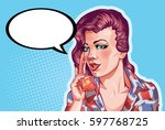 young woman vintage portrait ... | Shutterstock .eps vector #597768725