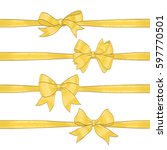 set of golden bows on white.... | Shutterstock .eps vector #597770501