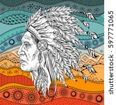 man in the native american... | Shutterstock .eps vector #597771065