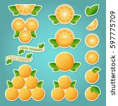 orange fruit set of stickers.... | Shutterstock .eps vector #597775709