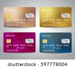 realistic detailed credit cards ... | Shutterstock .eps vector #597778004
