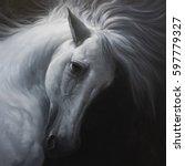 White Horse Is Dark Side   Oil...